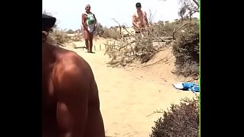 beach flashing strangers the wife on Couple slave and mistress extreme