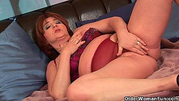 hanging big udders with granny Only shy at first