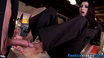 lick in cum feet Ashley swallows the security guards cum after a doggy style