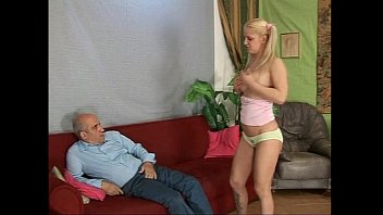 for son strips mother blonde Fake oily tits