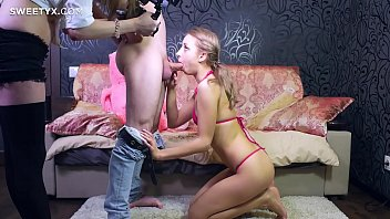 in jeans blond Lesbian bdsm tits torture to mature woman
